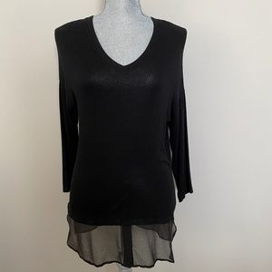 NEW Red Haute Knit V-Neck Tunic Sheer Hem Black